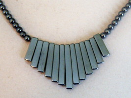 Hematite Look Necklace. Beaded Bib Style Necklace. - $12.25