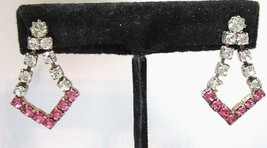 Pierced Earrings Dangle Sparkly Clear And Pink Rhinestones Pointed Vintage - $28.00