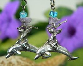 Angel Cherub Riding Dolphin Sterling Silver Earrings Signed Pierced - $23.95