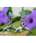 Angel riding dolphin sterling silver earrings dangles signed pierced thumbtall