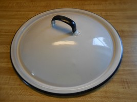 """white enamel pot lid 10"""" lid with 9"""" lip ~ olde... - $12.69"""