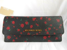 Michael Kors Jet Set EW Black Leather Flat Carryall Wallet with Red Roses - $119.68