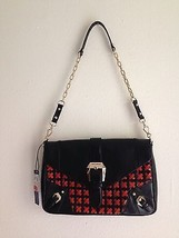 REBECCA MINKOFF WOVEN Black And Red Purse Bag Leather - $173.25