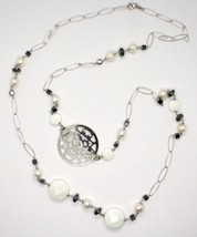 1 MT Long Necklace in Silver 925 with Hematite Agate and Pearls Made in Italy image 2