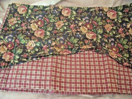 """New Darcy Floral Plaid Layered Valance Curtain 15"""" X 57"""" Black Tan Red Cottage - $19.95"""