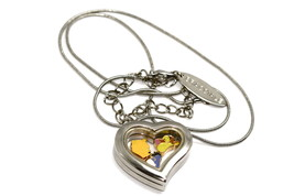 Disney Heart Locket Silver Necklace Floating Winnie The Pooh & Friends Charms - $24.74
