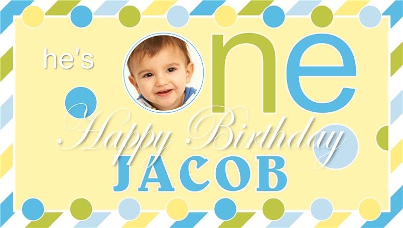 Baby's First Birthday -Personalized- Vinyl Birthday Banner Decoration w/ Photo
