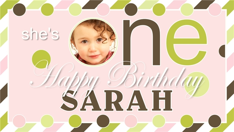 Baby's First Birthday -Personalized- Vinyl Birthday Banner Decoration w/ Photo