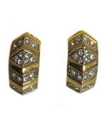 Vintage Monet Pierced Crystal And Gold Toned Designer Earrings - $16.82
