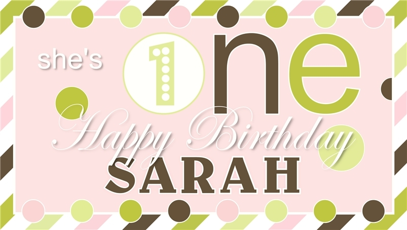 Baby's First Birthday -Personalized- Vinyl Birthday Banner Decoration