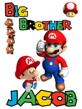 Personalized Big Brother NAME T-shirt *NEW* Mario Brothers - $9.99
