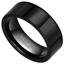 8mm Men Women Black Glossy Polished Tungsten Wedding Ring, Band; Sizes 5-15 - $19.95
