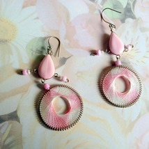 Pink and White Threaded and Beaded French Hook Chandelier Earrings New  - $7.00
