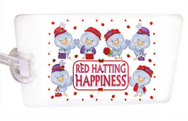 LUGGAGE TAG & STRAP RED HAT BLUE BIRDS OF HAPPINESS FOR LADIES OF SOCIETY - $12.86