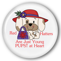 PURSE MIRROR ORGANZA BAG RED HATTERS ARE YOUNG PUPS AT HEART LADIES OF S... - $7.91