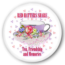 RED HAT PURSE MIRROR W/ ORGANZA BAG RED HATTERS SHARE TEA FRIENDSHIP & M... - $7.91