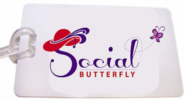 SOCIAL BUTTERFLY WHITE LUGGAGE TAG & STRAP FOR LADIES OF SOCIETY TRAVEL - $12.86