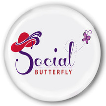 PURSE MIRROR & ORGANZA BAG SOCIAL BUTTERFLY DESIGN RED HAT LADIES OF SOC... - $7.91