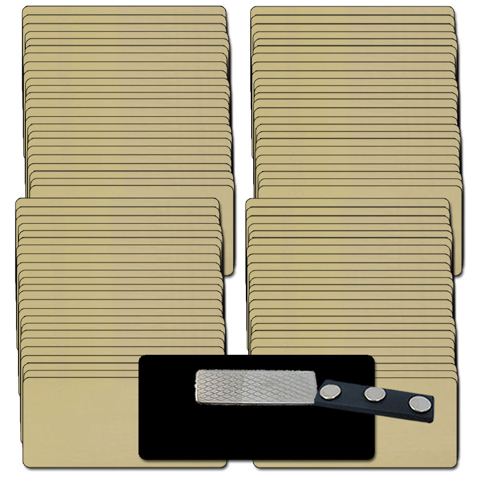 100 Blank 1 1/2 X 3 Gold Name Badge Kit (A) and similar items