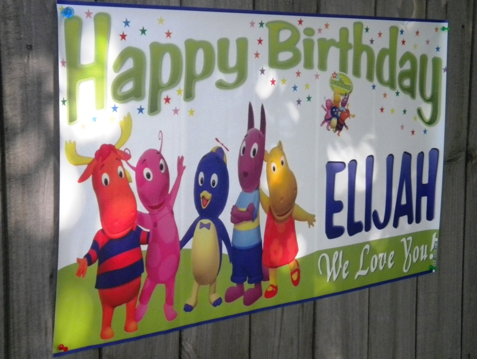 Barney & Friends V1 -Personalized- Custom Vinyl Birthday Party Banner Decoration