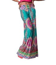 Womens Fold Over Waist Wide Leg Palazzo Pants (M, Teal Tropical) [Apparel] - $36.13