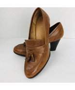 Born Tan Leather Heels Slip On Tassel Shoes Size 6.5 M W12430 Rubber Sole - $44.54