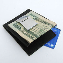 Black 100%. leather MONEY CLIP Credit ID Bifold men Wallet Holder Card I... - $10.79