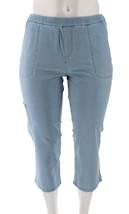 Denim & Co Comfy Knit Denim Slim Leg Cargo Crop Jeans Bleach Wash L NEW ... - $18.79