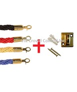 Stanchion Braided Rope with 2 pcs Wall Plates, VIP Crowd Control - $44.54+