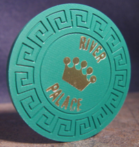 """1980's New Roulette Chip From: """"The River Palace""""- (sku#3387) - $15.99"""