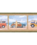 Vintage Auto Car Wallpaper Border Beach Surf Scene PB58006B - $14.99
