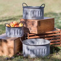 Apple Fruit Basket Picker Galvanized Set of Three Country Vintage Rustic... - $84.10