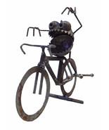 Sugarpost Gnome Be Gone Bicycle Bike Rider Welded Metal Art - $49.99