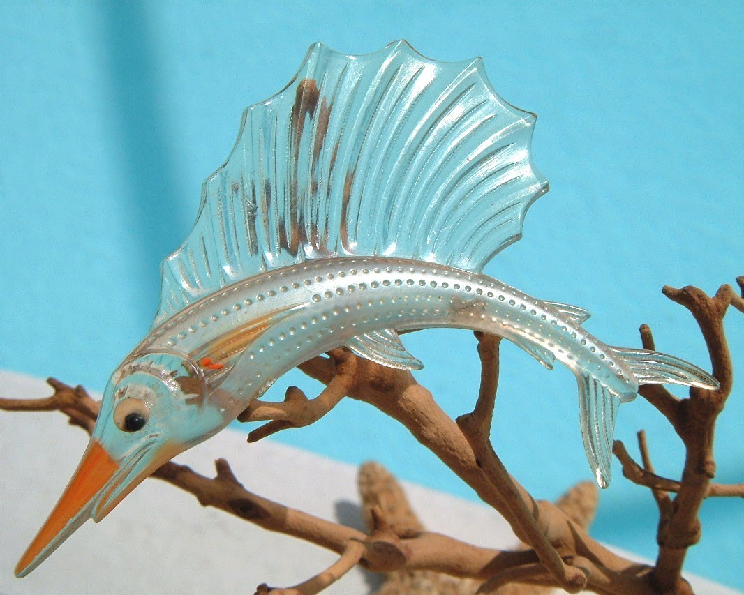 Primary image for Vintage Sailfish Brooch Pin Thermoset Lucite Fish Figural Book Piece