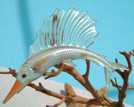 Vintage Sailfish Brooch Pin Thermoset Lucite Fish Figural Book Piece - $49.95