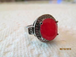 .  RUBY  RING, SIZE 7.5, MARKED 925, NEW - £11.11 GBP