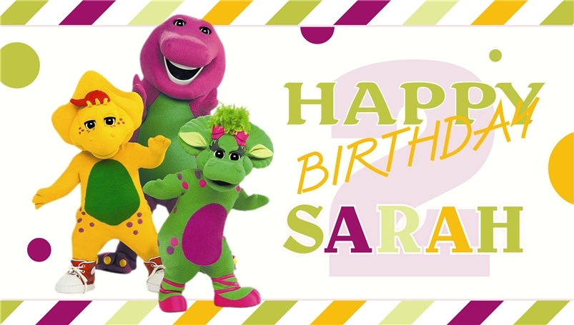 Barney & Friends V2 -Personalized- Custom Vinyl Birthday Party Banner Decoration