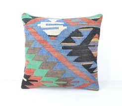 HANDWOVEN coral red pillow case blue coral pillow cover colorful throw p... - $14.00