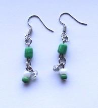 Green white beaded dangle earrings - $13.00