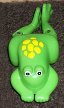 bath toy plastic wind up swimming frog green yellow  - $22.00