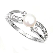 Sterling Silver ring Size 6 CZ Round cut Engagement Wedding Pearl Bridal... - $12.58