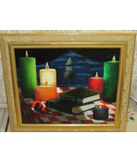 Signed Painting Original Art Still Life Candles Books Pipe Vibrant 25 x 22 - $33.46