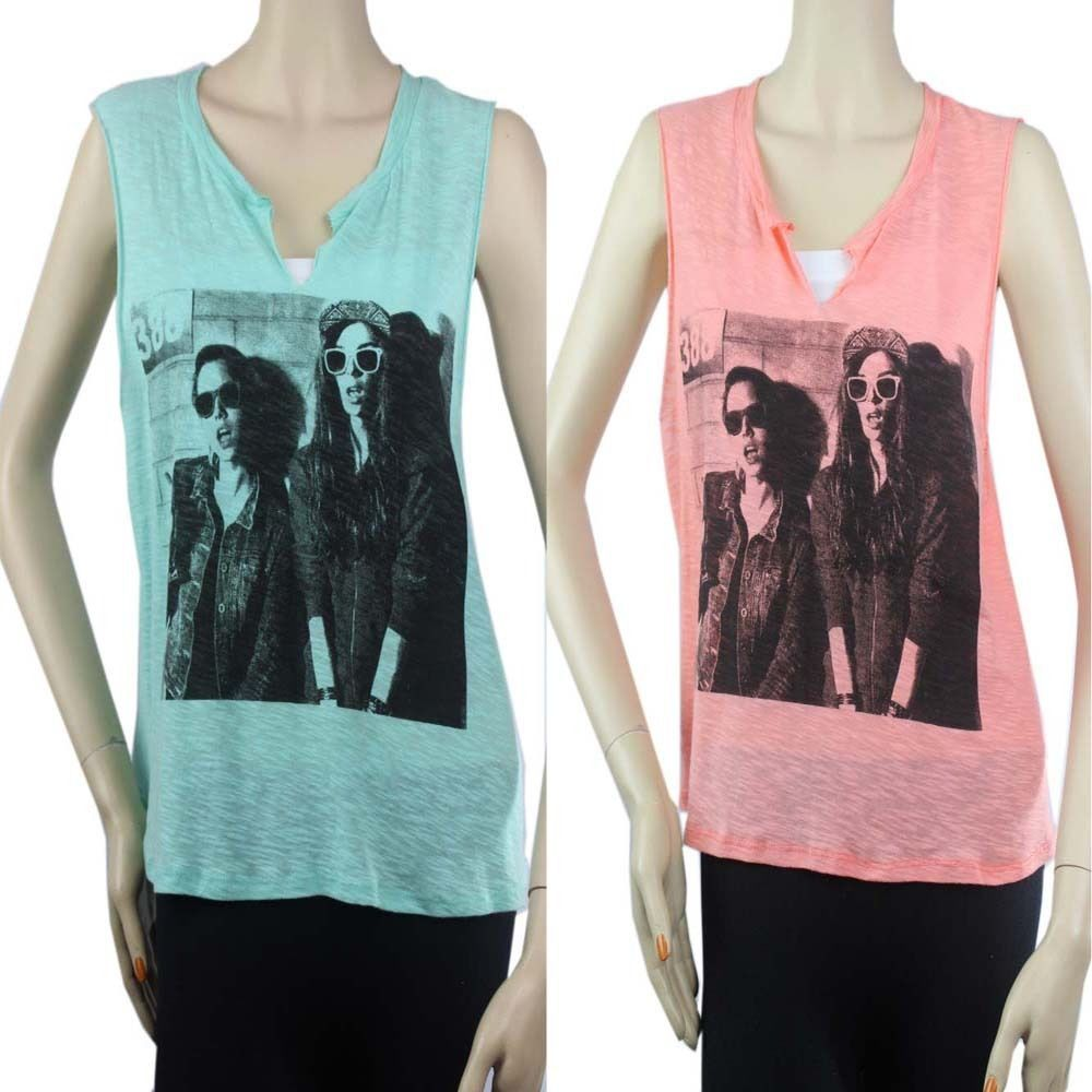 Women Face Layering Sexy Tank Top V-Neck Loose Fit Summer Casual Solid Shirt SML
