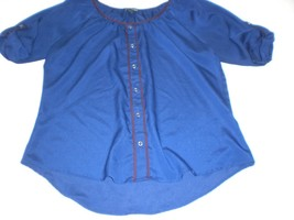 W13795 Womens Express Navy Blue/Maroon Flowy Blouse Shirt Top Medium - $28.97