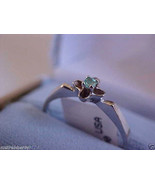 18 K W Gold Round Cut Green Emerald  Ring Band sz 8 $450 - $181.37
