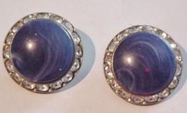 CORO Clip-on Earrings Blue Marbleized Stone w/Rhinestones - $19.95
