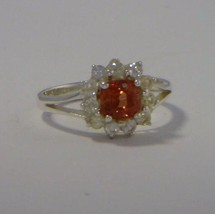 Red Orange Spinel with White Sapphire Halo Handmade Silver Ladies Ring size 6.5 - £113.16 GBP