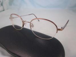 ANNE KLEIN Eyeglass Frames 2015 K1046 Oval Half Rim Metal Gold Brown Italy - $22.46