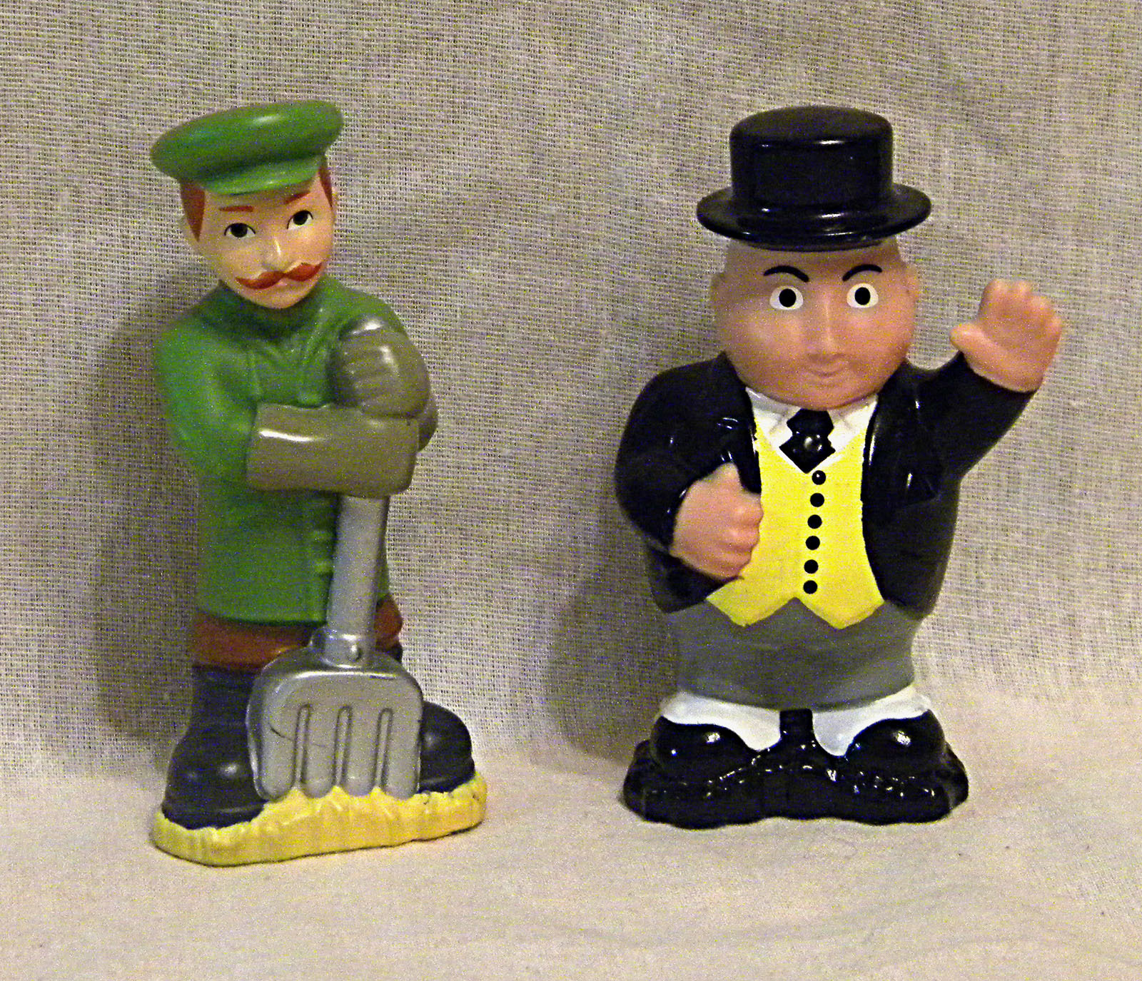 Primary image for 2 Thomas the Tank Engine Character Figures Sir Topham Hatt and coalman w/shovel