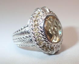 Estate Judith Ripka Cable Sterling Oval 11 x 9 Oval Citrine Ring SZ 6 - $84.14